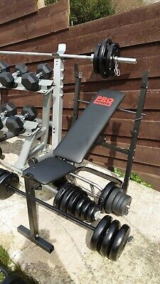 £209 • Buy Weight Bench For Dumbbells Or Barbell Gym With Squat Rack Power Rack