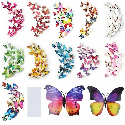 AU4.49 • Buy 12PCS 3D Butterfly Wall Removable Sticker Decals Kids Art Nursery Decor Magnets