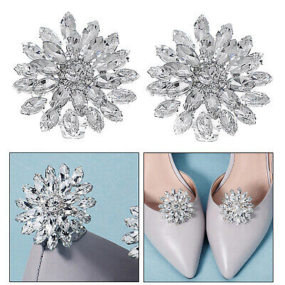 £4.52 • Buy 1 Pair Rhinestone Crystal Shoe Buckle Shoe Clips For Wedding Shoes Decorations
