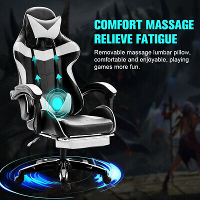 £94.61 • Buy Racing Gaming Chairs Reclining Office Desk Computer Game Massage Chair /Footrest