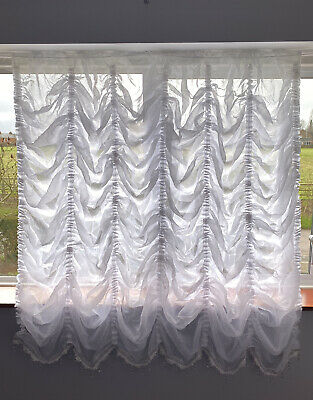 £48 • Buy Festoon White Net Curtain Crushed Voile With White/silver Beaded Finish