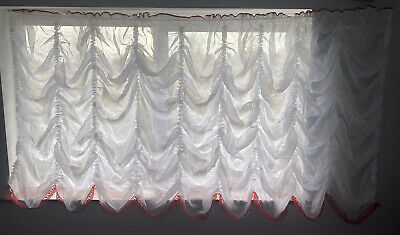 £49.99 • Buy Festoon White Net Curtain Crushed Voile With Red Lace Bottom Finish And Red Top