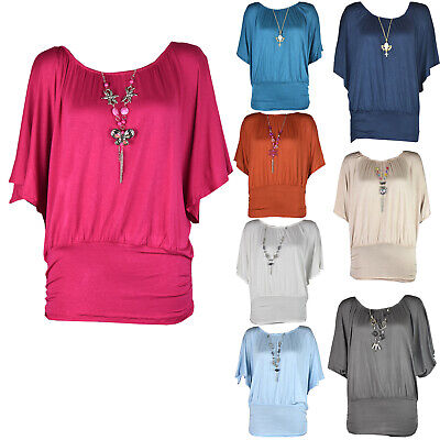£5.89 • Buy Womens Plus Size Frill Necklace Gypsy Tunic Short Sleeve Long V Neck Tops 12-22