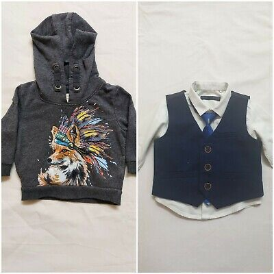 £9.99 • Buy 3-6 Month Baby Boy Next Shirt Waistcoat Pant  Tie Party Outfi+Monsoon Hoodie