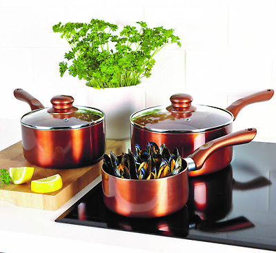 3 Piece Saucepan Set Ceramic 100% Non-Stick Healthy Cooking Cookware Copper • 42.50£