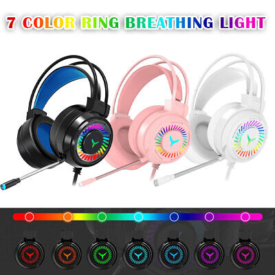 £10.98 • Buy Gaming Headset RGB LED Wired Headphones Stereo With Mic For One/PS4 PC Xbox UK