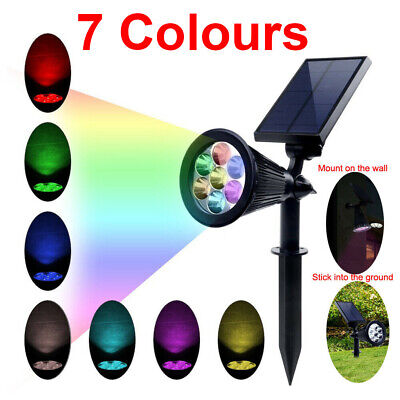 Multi-colored 7 LED Solar Spot Lights Color Changing Garden Light Outdoor Lamp • 14.89£