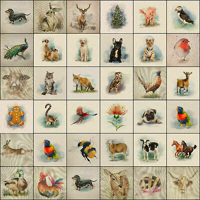 £2.65 • Buy Fabric Cushion Panels Linen-look Country Creatures And Animals For Home Decor