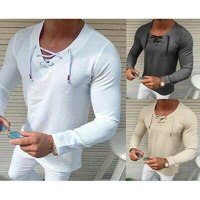 £15.28 • Buy Medieval Mens Casual V-neck T Shirt Baggy Tunic Shirt Lace Up Tops Tees Blouse