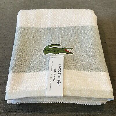 £15.21 • Buy Lacoste Bath Towel 30  X 52  Match Cotton Colorblocked White Gray Pool Beach New