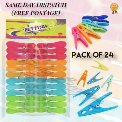 24 NEW Heavy Duty Clothes Pegs Clip Washing Line Dry Line Plastic Peg Garden  • 3.30£