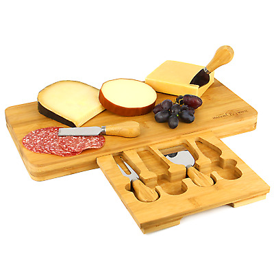 £19.99 • Buy Bamboo Cheese Board Serving Platter With Knife Set   M&W