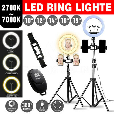 AU31.97 • Buy LED Ring Light Selfie Dimmable Kit Phone Tripod Makeup Live Lamp Stand Set 12