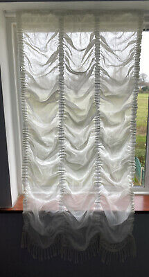 £14.99 • Buy Festoon Ecru/Ivory Net Curtain Crushed Voile With Matching 13cm Lace Tassel