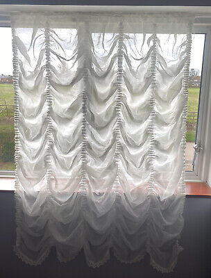 £32 • Buy Festoon Ecru/Ivory Net Curtain Crushed Voile With Matching 3.5cm Lace Finish
