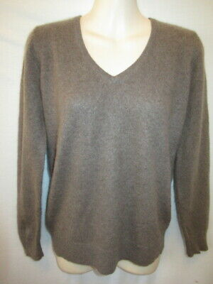 $14.95 • Buy Charter Club Luxury 100% Cashmere Brown V-neck Sweater M May Fit PS PM
