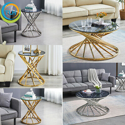 £109.99 • Buy Round Glass Coffee Table End Side Tables Stainless Steel Legs Sofa Living Room