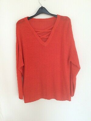 £15 • Buy Coral-Red, Slouchy Jumper, Open-weave/mesh Cotton Mix Knit V-neck Jumper, S/M