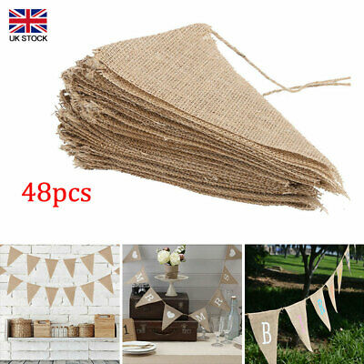 £8.76 • Buy 10 Meters Bunting Banners Hessian Wedding Party Decoration Flags Burlap Banner