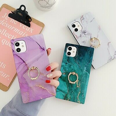AU11.58 • Buy Square Case With Diamond Ring Holder Phone For Iphone 7 8 Plus 11 12 Cases Cover