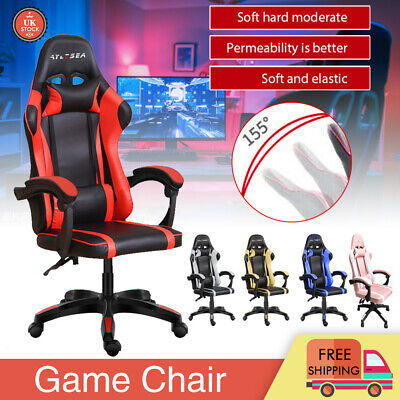 Racing Gaming Computer Chair Desk PU Recliner Office Swivel Lift Executive Seat • 86.99£