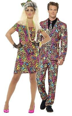 AU102.35 • Buy Couples Matching Ladies & Mens Retro 80s Neon Party Animal Fancy Dress Costumes