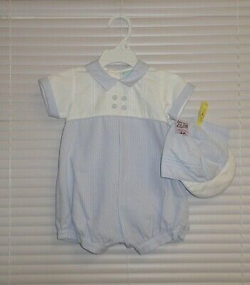£24 • Buy Willbeth Boutique Blue White Romper With Hat 2pc Baby Boy 6m NWT