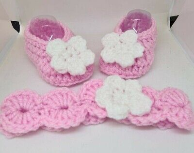 £5.99 • Buy Hand Made Knitted/crochet Baby Ballerina Shoes/booties And Headband 4 Sizes