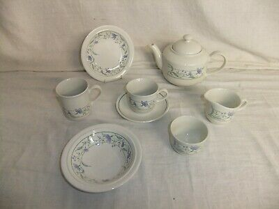 £2.99 • Buy C4 Pottery Staffordshire Tableware NEW Blue Floral Teapot Cup Bowl Plate 7B3B