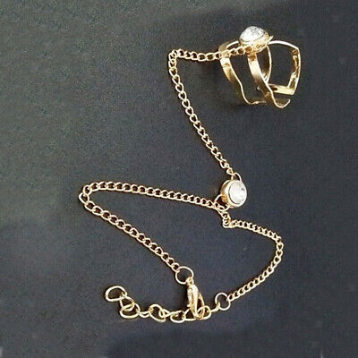 £3.40 • Buy Fashion Crystal Hand Harness Chain Finger Ring Bracelet Jewelry Gift Gold