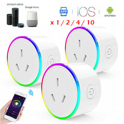 AU36.99 • Buy RGB Smart WiFi AU Plug Remote Switch Power Socket For Amazon Alexa / Google Home