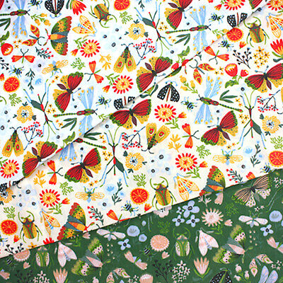 £4.40 • Buy Polycotton Fabric Cute Wildflowers Floral Bugs Butterflies Dragonflies