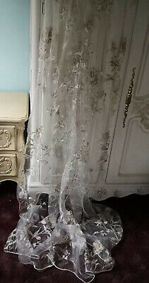 £24 • Buy White Voile/Sheer Panel With Gold & White Floral Detail