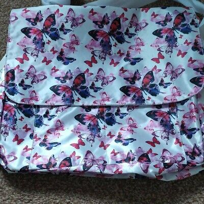 £10 • Buy Purple And Pink Butterfly Print Messenger Bag - Brand New - Approx 35×28cm
