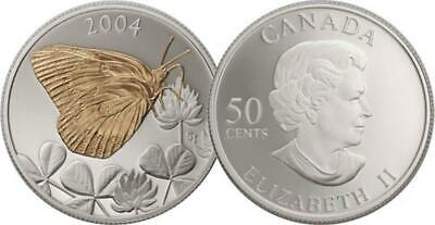 $29.95 • Buy Canada - 2004 Butterfly Clouded Sulphur Proof 50ct Sterling Silver Coin W Box