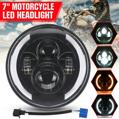 AU34.95 • Buy DOT 7  Inch LED Projector Motorcycle Headlight Round Hi-Lo DRL Turn Signal Lamp