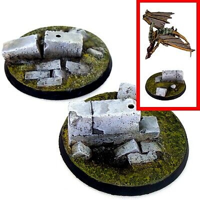 £4.79 • Buy 2x Resin Flying Bases -  50mm ROUND (A) - Ruins City Urban Trenches Walls 40k