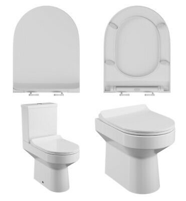 £14.95 • Buy D Shaped Toilet Seat Quick Release Soft Close With Top Fixing Hinges SEA005