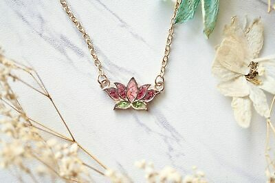 $ CDN24.06 • Buy PRESSED FLOWERS And RESIN Necklace Rose Gold Lotus Flower In Pink And Green