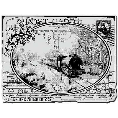 $13.69 • Buy New Stampendous Rubber Stamp VintageTRAIN Post Card COLLAGE Free USA Ship