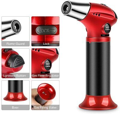 £19.15 • Buy Blow Torch Kitchen Refillable Butane Gas Lighter Cooking Chefs Bbq Creme Brulee