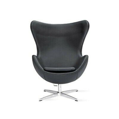 £459 • Buy Arne Jacobsen Egg Chair Armchair Black Real Leather In Stock Wholesale Price