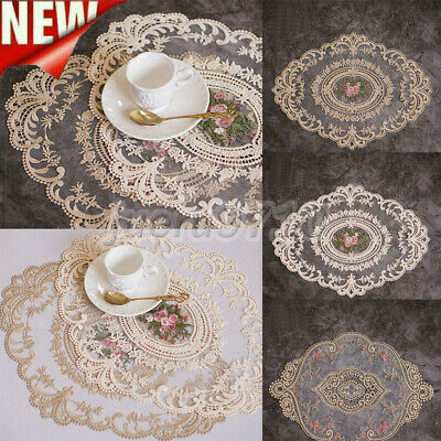 £3.32 • Buy Lace Fabric Embroidery Placemats Dining Table Mats Pad Doilies Heat-resistant 1x