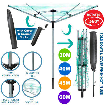 £25.99 • Buy 4 Arm Rotary Airer Outdoor Washing Line Clothes Dryer Free Ground Spike & Cover