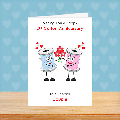 £2.99 • Buy SMALL A6 Personalised 2nd And Cotton Wedding Anniversary Card Love Romantic