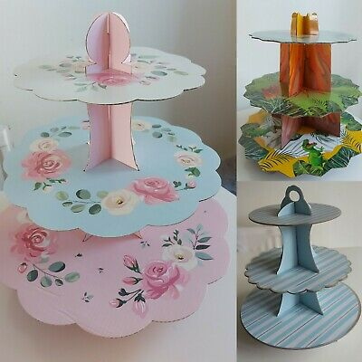 £2.99 • Buy 3Tier Cardboard Cake Stand Afternoon Tea Wedding Plates Birthday Party & Bunting
