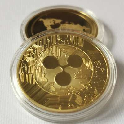 AU5.14 • Buy Gold Plate Ripple Coin Commemorative Round Collectors Coin XRP Coin With Case