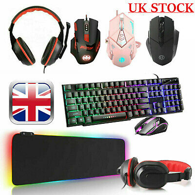 £11.99 • Buy Gaming Keyboard Mouse Headset RGB LED Mat Pad For PC Laptop PS4 Xbox One 360 UK