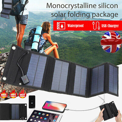 £18.09 • Buy 70W USB Solar Panel Folding Portable Power Charger Camping Travel Phone Charger