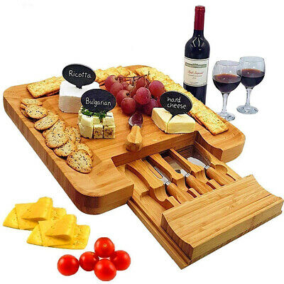 £26.99 • Buy Bamboo Cheese Board & Knife Set 4 Speciality Knives Included